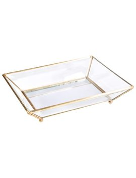 Home Details Vintage   Copper Medium Bevelled Glass Tray W. Mirrored Bottom 8.07 X6.6 X1.57 Inch by Home Details