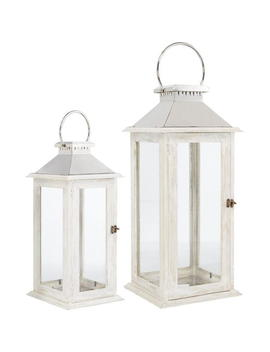 White Wooden Lantern, Large by Hotel Collection
