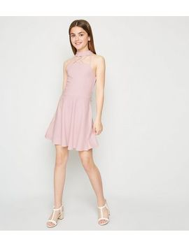Girls Pink Strappy Halterneck Skater Dress by New Look