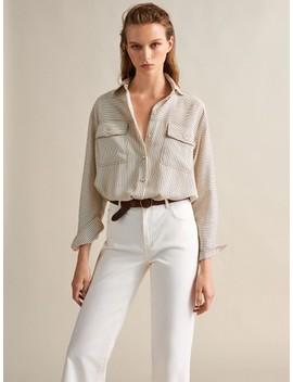 Spodnie DŻinsowe Z WystrzĘpionym DoŁem O Prostym Kroju by Massimo Dutti
