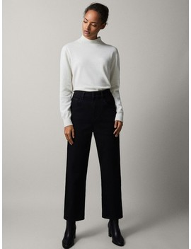 Czarne Spodnie Jeansowe Ze StĘbnowaniem Skinny Fit by Massimo Dutti