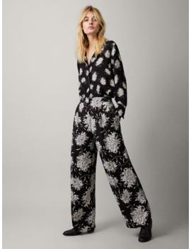 Spodnie W Kwiatowe Motywy O Kroju Wide Fit by Massimo Dutti