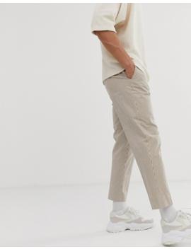 Asos Design   Pantalon Court Fuselé élégant En Seersucker Rayé   Beige by Asos Design