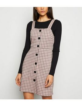 Pink Check Button Pinafore Dress by New Look