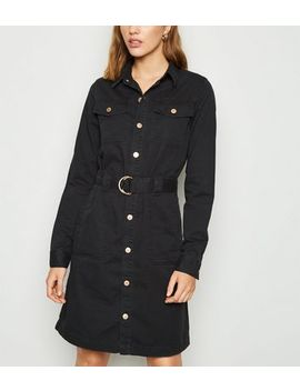 Tall Black Denim D Ring Belted Shirt Dress by New Look