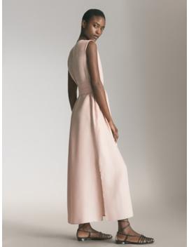 Sukienka Z Tkaniny Cupro Z WiĄzaniem by Massimo Dutti