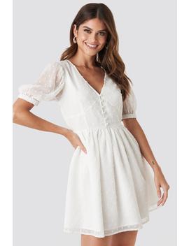 Puff Sleeve Mini Dress Weiß by Paulinyexnakd