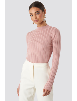 Ribbed High Neck Knitted Sweater Rosa by Na Kd