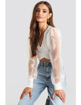 Organza Cropped Blouse Weiß by Na Kd Party