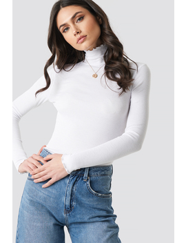 Ribbed Polo Babylock Top Weiß by Na Kd