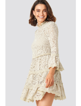 High Neck A Lined Lace Dress Beige by Queenofjetlagsxnakd