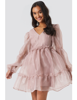 Open Back Organza Dress Rosa by Na Kd Party