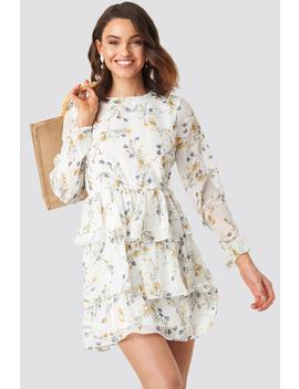 Triple Layer Flounce Mini Dress Weiß by Na Kd Boho