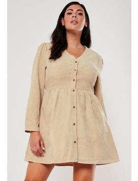 Plus Size Tan Cord Button Down Smock Dress by Missguided