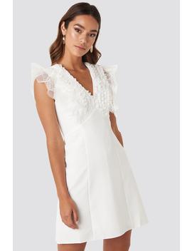 Collar Detailed Mini Dress Weiß by Trendyol