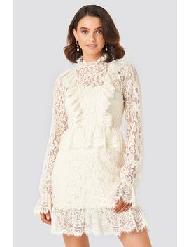 Frill Detailed Mini Lace Dress Weiß by Queenofjetlagsxnakd