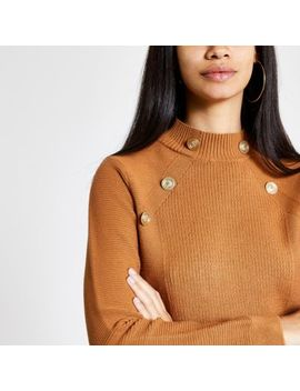 Brown Button Detail Turtle Neck Jumper by River Island