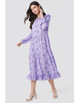 Long Sleeve Front Button Ankle Dress Lila by Na Kd Trend