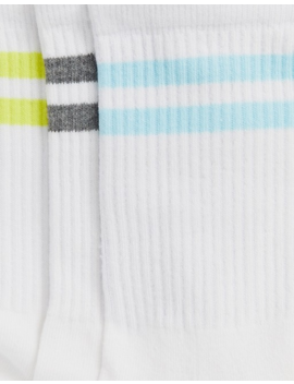 French Connection Sports Stripe 3 Pack Socks In Pastel Multi by French Connection