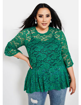 Hi Low Lace Peplum Top by Ashley Stewart