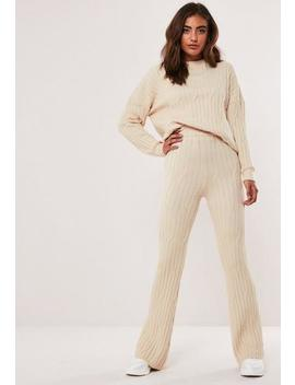 Stone Co Ord Cable Flare Leg Knitted Trousers by Missguided