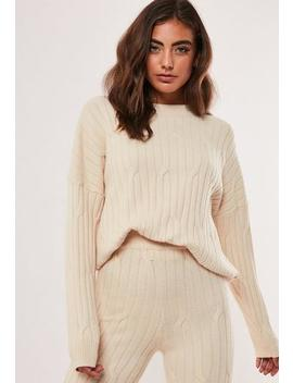 Stone Co Ord Cable Crew Knitted Jumper by Missguided