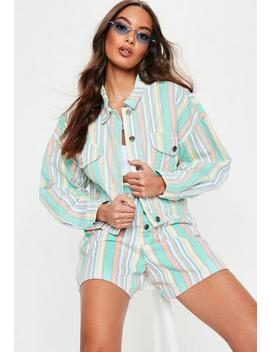 Green Pastel Stripe Cropped Denim Co Ord Jacket by Missguided
