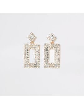 Gold Colour Diamante Rectangle Drop Earrings by River Island