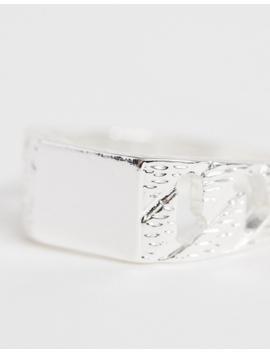 Asos Design – Silberfarbiger Siegelring Mit Kettchen by Asos