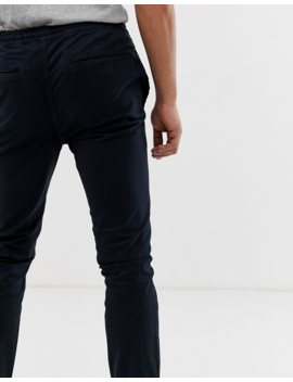 Burton Menswear Elasticated Chino In Navy by Burton Menswear London
