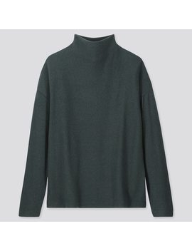 Women Soft Knitted Fleece High Neck Long Sleeved T Shirt by Uniqlo