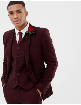 Asos Design Wedding Skinny Suit Jacket In Burgundy Wool Mix Herringbone by Asos Design