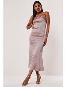 Mocha Cami Slip Satin Midaxi Dress by Missguided