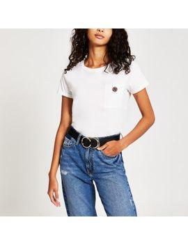 White Ri Diamante Button Pocket T Shirt by River Island