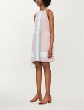 Contrast Panel Pleated Chiffon Mini Dress by Ted Baker