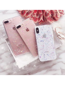 For I Phone Xs Max Xr X 7 8 6s Cute Bling Glitter Slim Tpu Soft Clear Case Cover by Qys Friday
