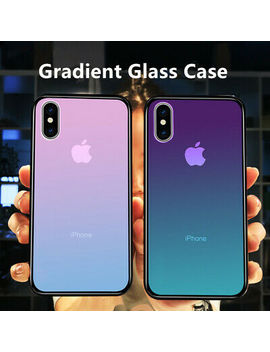 For Apple I Phone Xs Max Xr Xs X 7 8 Plus Gradient Tempered Glass Back Case Cover by Unbranded/Generic