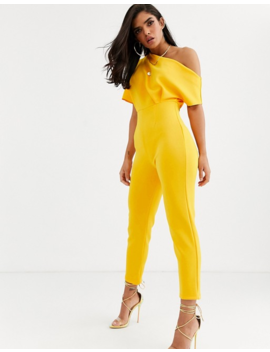 Asos Design Scuba One Shoulder Jumpsuit With Tuck Detail by Asos Design