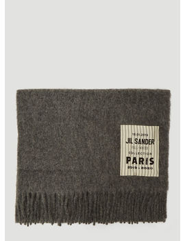 Logo Patch Scarf In Grey by Jil Sander