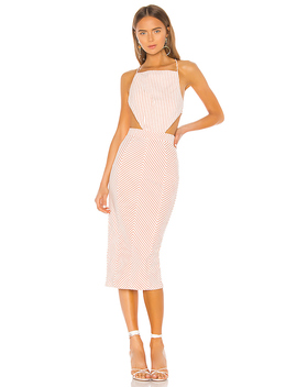 X Revolve Celeste Dress In Orange Stripe by Michael Costello