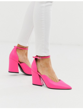 Asos Design Spotless Pointed Block Heels In Bright Pink by Asos Design