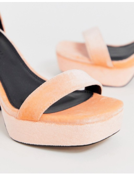 Asos Design Wide Fit Witty Chunky Platform Block Heels In Peach by Asos Design