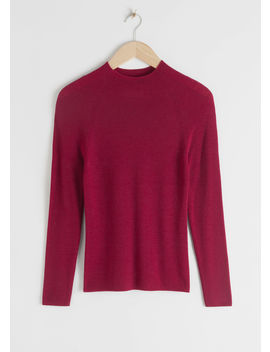 Fitted Mock Neck Wool Sweater by & Other Stories
