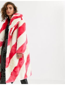 Jakke Long Coat In Faux Fur Candy Stripe by Jakke