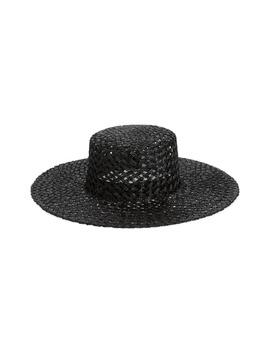Sunnydip Noir Wide Brim Woven Hat by Lack Of Color