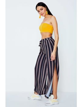Multi Side Split Pink Stripe Palazzo Trousers by Select