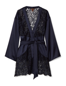 Athene Lace And Stretch Satin Robe by Coco De Mer