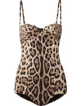 Cutout Leopard Print Underwired Swimsuit by Dolce & Gabbana