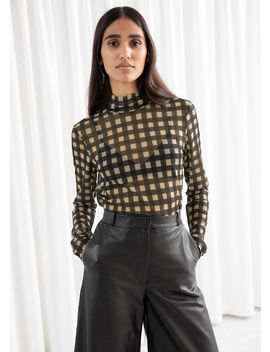 Plaid Check Mesh Turtleneck Top by & Other Stories