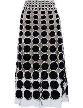 Appliquéd Tulle Midi Skirt by Oscar De La Renta